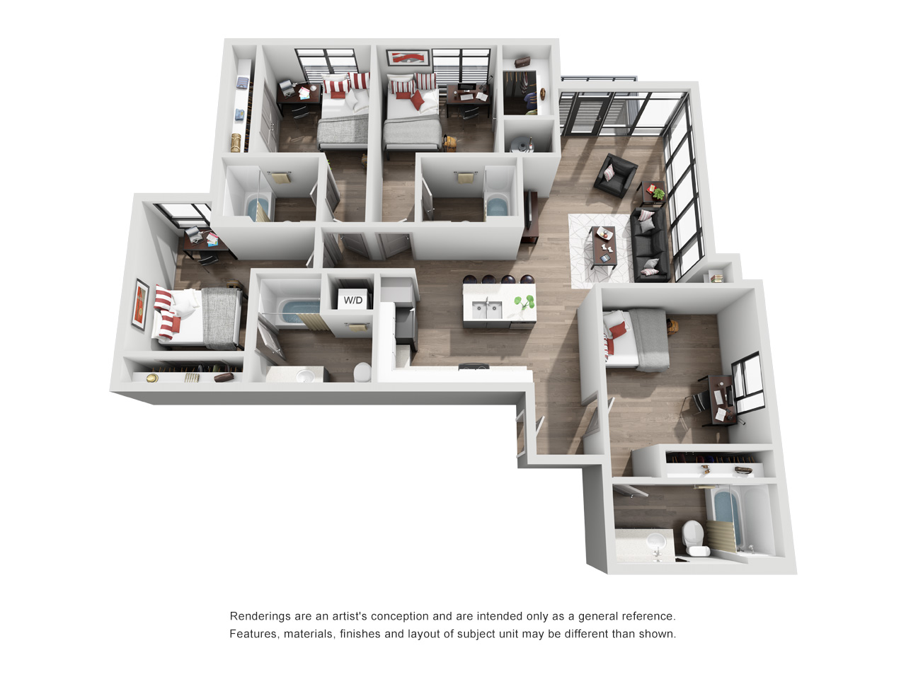 Four Bed, Four Bath Floor Plan