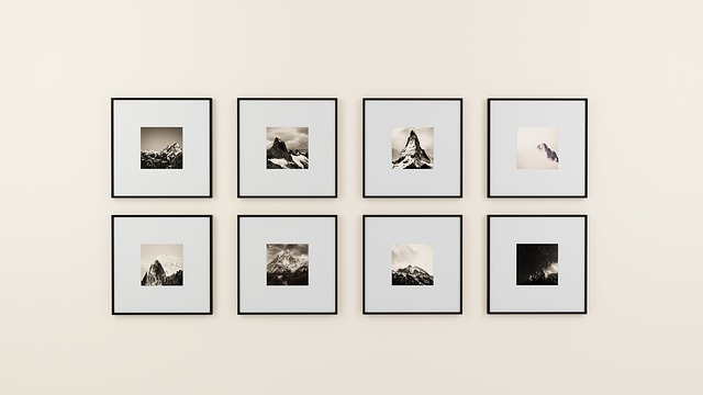 Eight photographs hanging on a wall