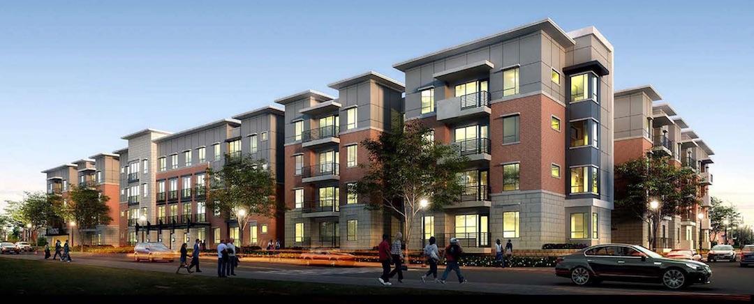 Apartment exterior at night